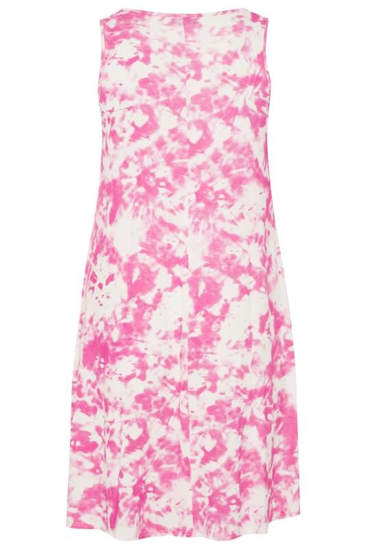 Pink Tie Dye Sleeveless Drape Pocket Dress