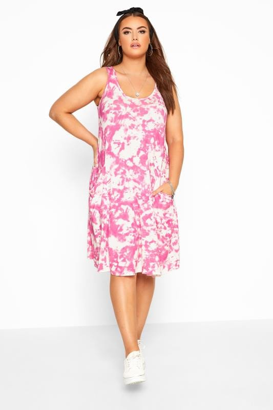 Pink Tie Dye Sleeveless Drape Pocket Dress