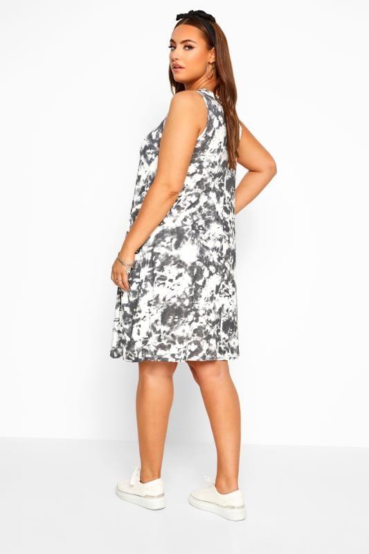 Black Tie Dye Sleeveless Drape Pocket Dress