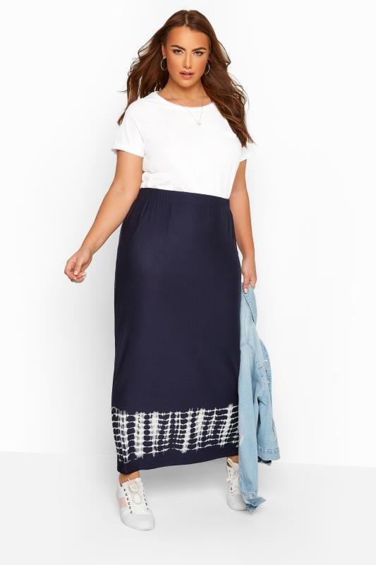 Maxi Skirts Tallas Grandes Navy Tie Dye Border Tube Skirt