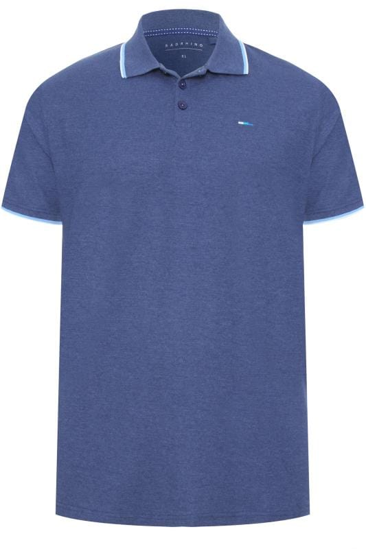 BadRhino Blue Marl Tipped Polo Shirt
