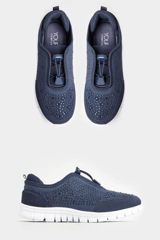 Wide Fit Trainers Navy Embellished Trainers In Extra Wide Fit