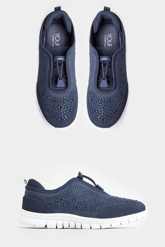 Plus-Größen Sneaker Extra-weite Turnschuhe mit Strass-Verzierung - Navy