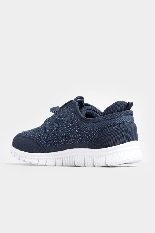 Navy Embellished Trainers In Extra Wide Fit