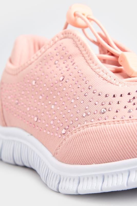 Pink Embellished Trainers In Extra Wide Fit Yours Clothing