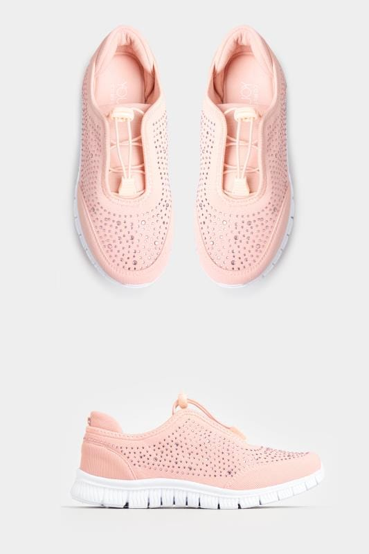 Wide Fit Trainers Pink Embellished Trainers In Extra Wide Fit