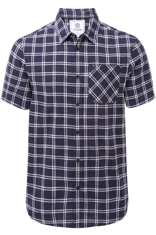 Plus Size Casual Shirts TOG24 Blue Relaxed Check Shirt