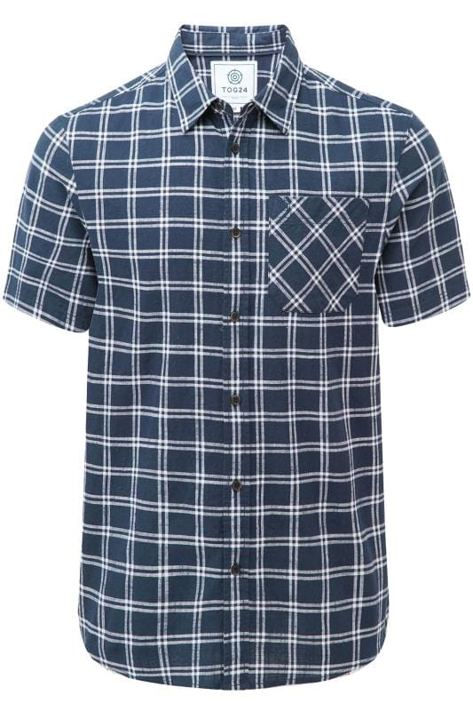 Plus Size Casual Shirts TOG24 Navy Relaxed Check Shirt