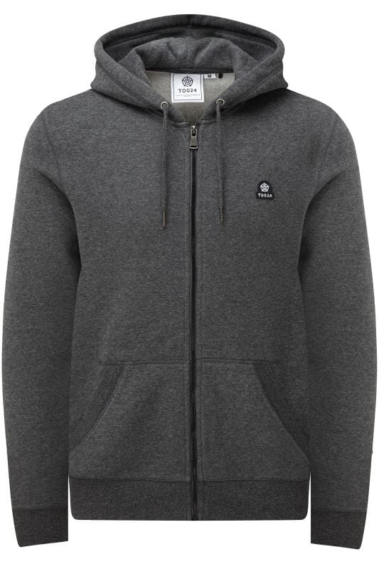 Plus Size Hoodies TOG24 Charcoal Grey Marl Zip Through Hoodie