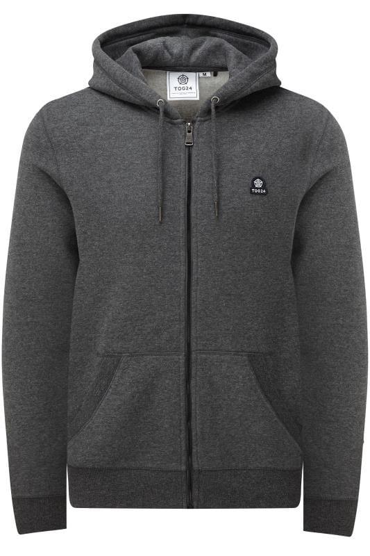Plus-Größen Hoodies TOG24 Charcoal Grey Marl Zip Through Hoodie
