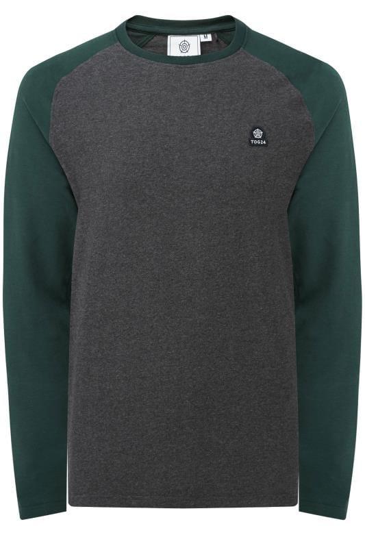 Plus Size T-Shirts TOG24 Grey Marl Raglan Top