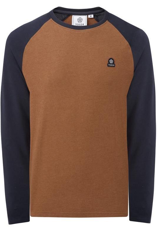 Plus Size T-Shirts TOG24 Brown Marl Raglan Top