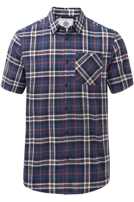 Plus Size Casual Shirts TOG24 Navy Check Shirt