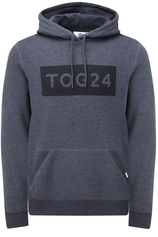 Plus Size Hoodies TOG24 Navy Marl Logo Hoodie