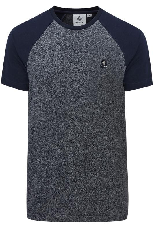 Plus Size T-Shirts TOG24 Navy Marl Raglan Short Sleeve T-Shirt