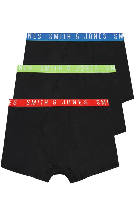 3 PACK SMITH & JONES Elasticated A Front Boxers
