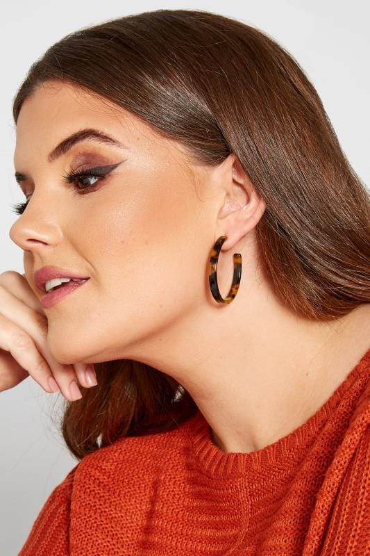 Plus Size Jewellery Tortoiseshell Hoop Earrings