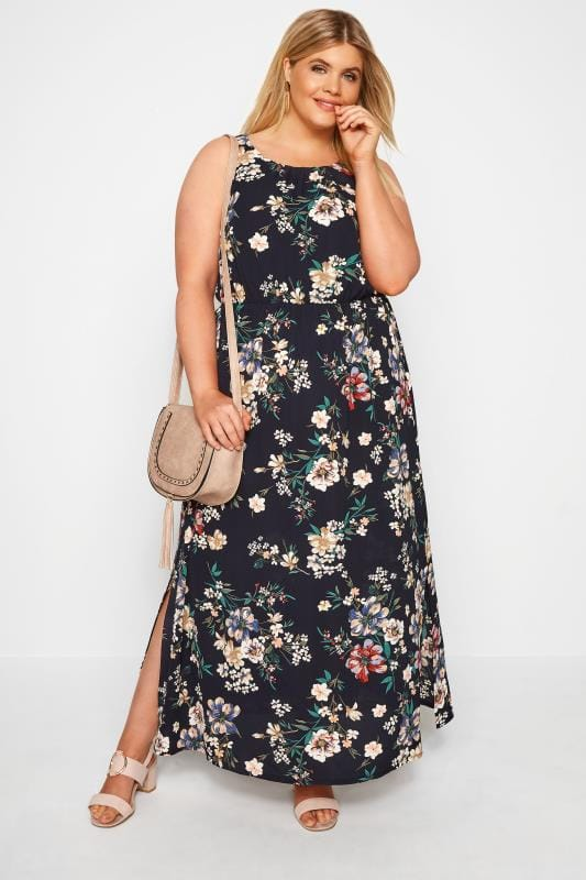 maxi-jurken Lange mouwloze jurk met bloemenprint in donkerblauw