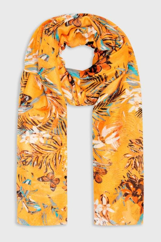 Yellow Tropical Floral Scarf