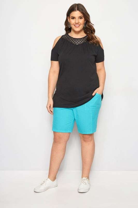 Turquoise Cool Cotton Pull On Shorts