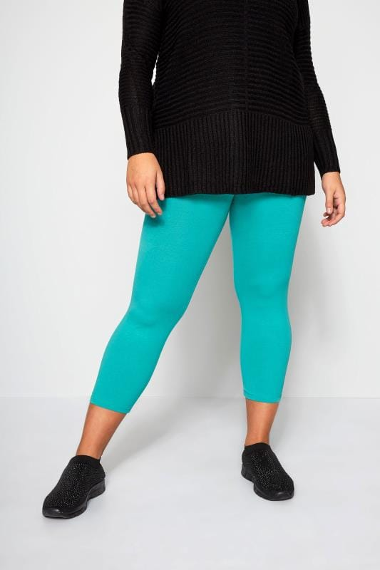 Plus Size Cropped & Short Leggings Turquoise Cropped Leggings