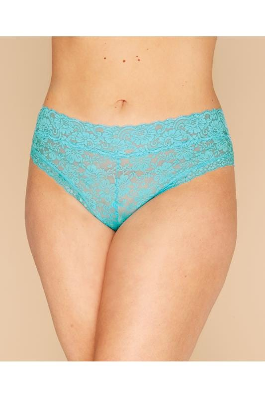 Plus Size Briefs Turquoise Lace Briefs