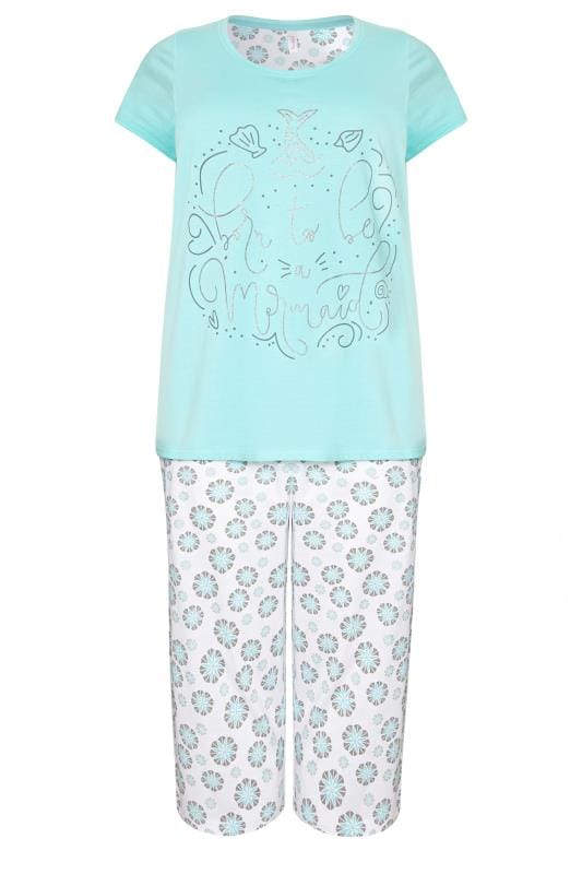 Turquoise Mermaid Slogan Cropped Pyjama Set