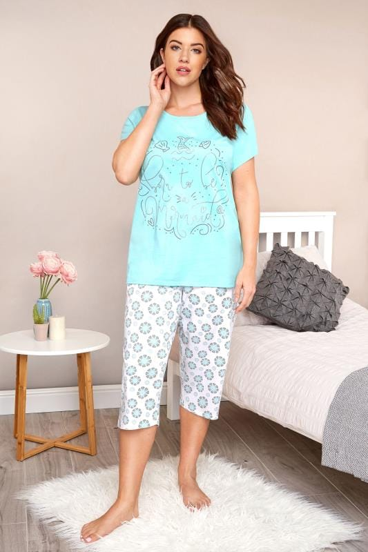 Plus Size Pyjamas Turquoise Mermaid Slogan Cropped Pyjama Set