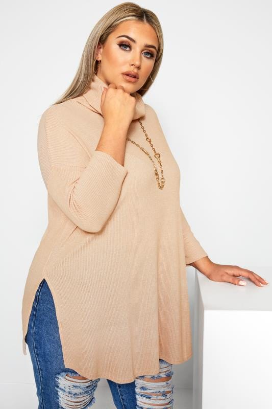 Plus Size Jersey Tops LIMITED COLLECTION Stone Turtleneck Top