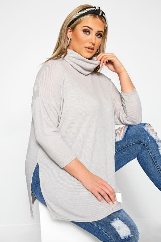 Plus Size Jersey Tops LIMITED COLLECTION Grey Turtle Neck Top