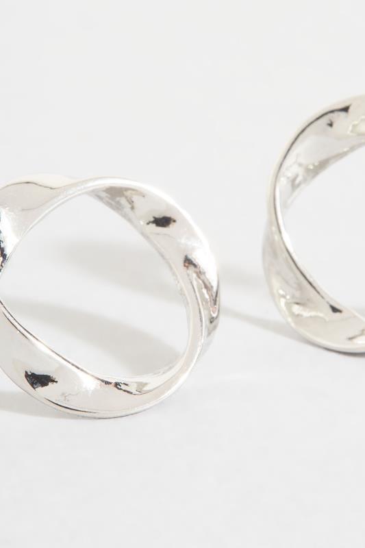 Silver Twisted Hoop Earrings