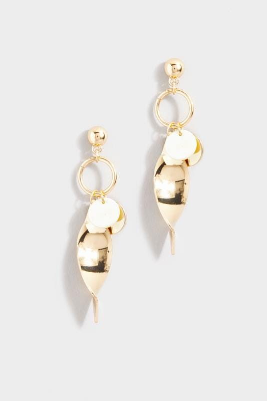 Gold Twisted Disc Earrings
