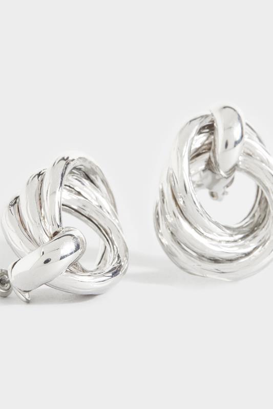 Silver Twisted Chunky Hoop Earring