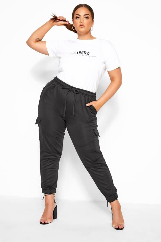 Plus Size Joggers LIMITED COLLECTION Black Utility Joggers