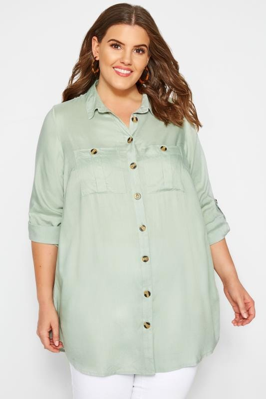 Plus Size Blouses & Shirts Khaki Utility Shirt