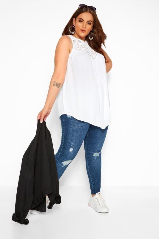White Asymmetric Lace Top