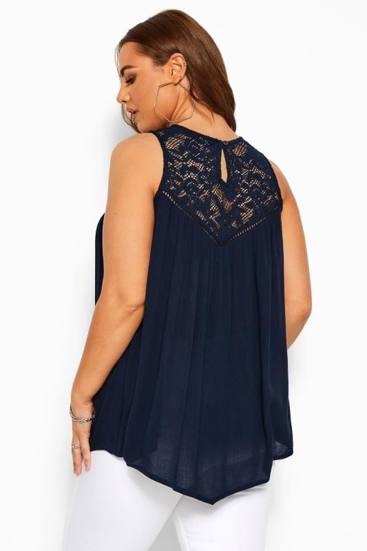 Navy Asymmetric Lace Top