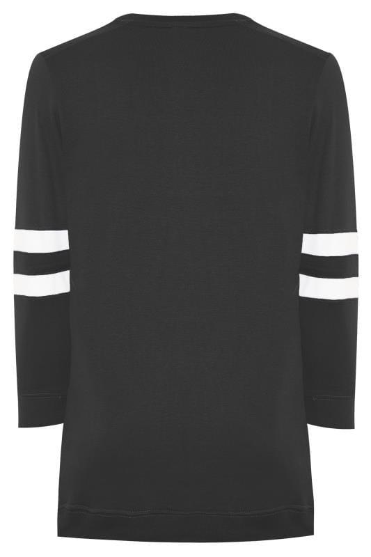 Black Varsity Stripe Sweatshirt