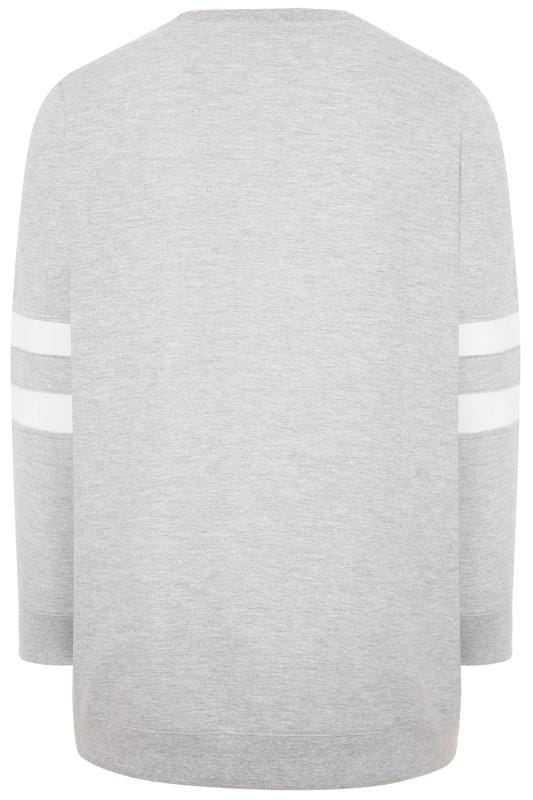 Light Grey Varsity Stripe Sweatshirt