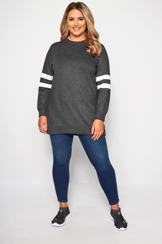 Grey Varsity Sleeve Longline Sweatshirt