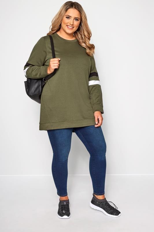 Khaki Varsity Sleeve Longline Sweatshirt