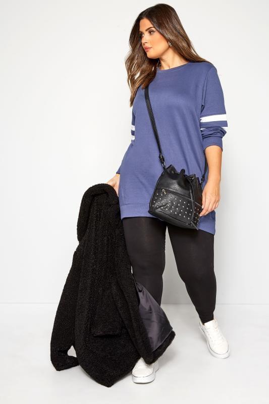 Plus Size Sweatshirts Blue Varsity Sleeve Longline Sweatshirt