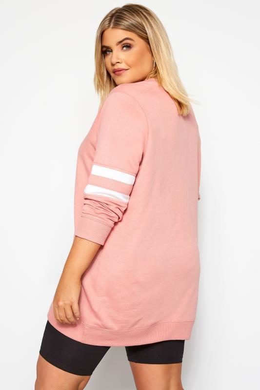 Pink Varsity Sleeve Longline Sweatshirt