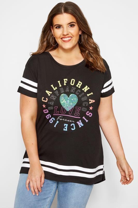 Große Größen T-Shirts T-Shirt mit Pailletten und Schriftzug - Schwarz