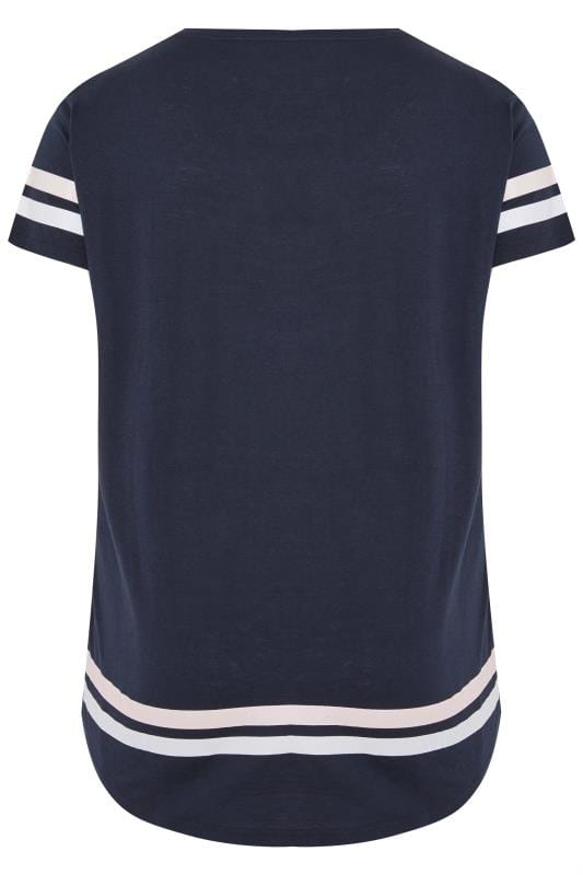 Navy Varsity Slogan T-Shirt