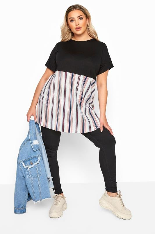 LIMITED COLLECTION Black Stripe Plisse Hem Top