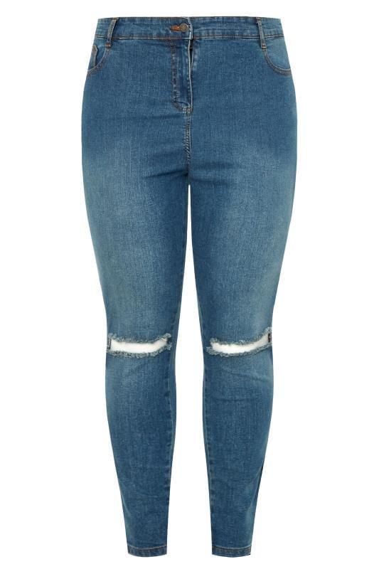 Blue Vintage Ripped Knee Skinny AVA Jeans