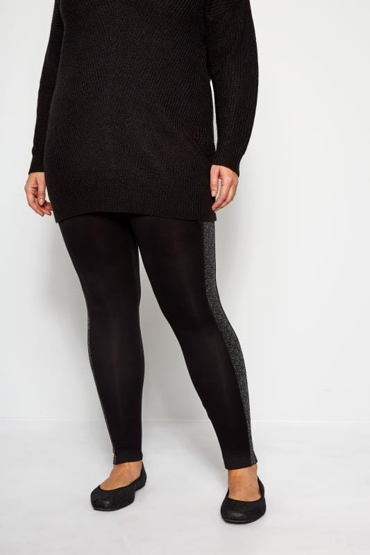 Plus Size Fashion Leggings Black Metallic Panel Leggings