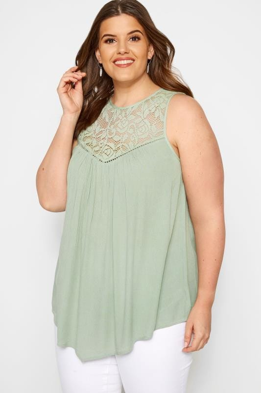 Plus Size Vests & Camis Khaki Lace Vest Top