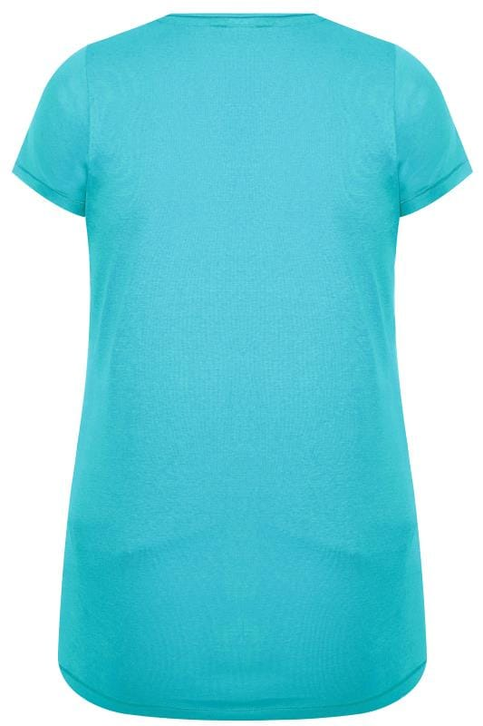 Aqua Blue V-Neck Plain T-Shirt